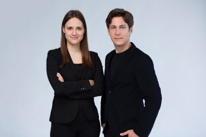 Conductor Dina Gilbert and composer Maxime Goulet, for the Montreal Video Game Symphony, by the Orchestre Métropolitain. Photo by Nadia Zheng, 2017