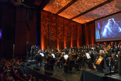 10th year anniversary musical celebration of the Assassin's Creed franchise during concert of the Montreal Video Game Symphony, by the Orchestre Métropolitain and conductor Dina Gilbert, on Sept. 29th, 2017, at the Wilfrid Pelletier hall. Photo by François Goupil