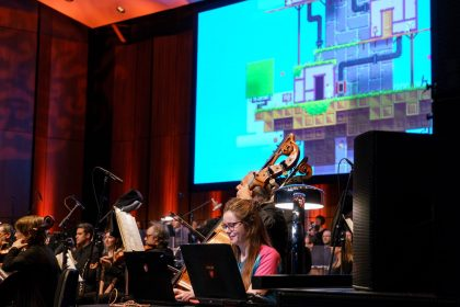 Interactive music live of FEZ during concert of the Montreal Video Game Symphony, by the Orchestre Métropolitain and conductor Dina Gilbert, on Sept. 29th, 2017, at the Wilfrid Pelletier hall. Photo by François Goupil